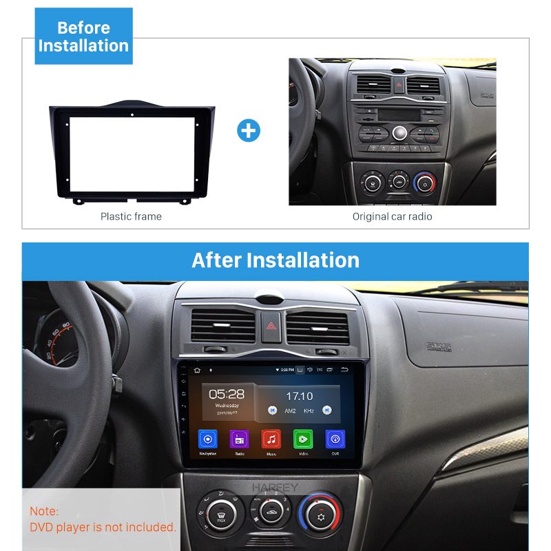 Harfey Car 2Din Auto Radio In Dash Fascia Stereo Panel Bezel Trim kit Cover 9 Frame Mount For 2018+ LADA GRANTA OEM Style ABS image