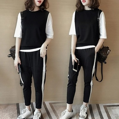 1902 # Summer New Style Sports WOMEN'S Suit Junior High School High School Students Loose Fashion Large Size Two-Piece Set Fashi
