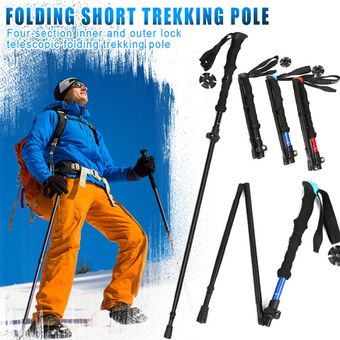 varas de caminhada de alta resistencia 4 secao telescopica dobravel curto trekking pole eva alca