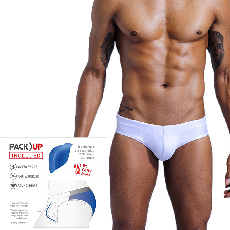 Push Pad Mens Swimming Shorts  Bulge Sexy Briefs Swimwear Trunks  White Swimming Pool Swimsuit  Men Sport Beach Wear  Surf  Gay
