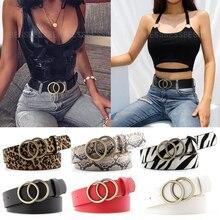 Women Belt Waistband Heart-Pin-Belts Metal Buckle Dress Jeans Double-Ring Fashion Ladies
