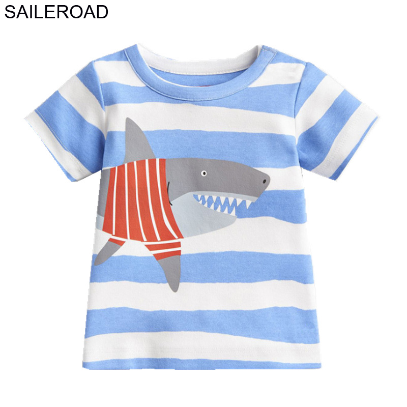 SAILEROAD boy Shirts Animal Boys T Shirt Summer Kids t shirt for boys New Children Tops Tees Clothes Baby Girls Clothing image