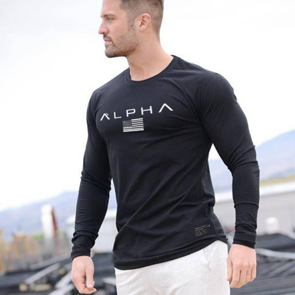 Casual Long Sleeve Cotton T-shirt Men Gym Fitness Workout Skinny T Shirt Male Print Tee Tops Autumn Running Sport Brand Clothing