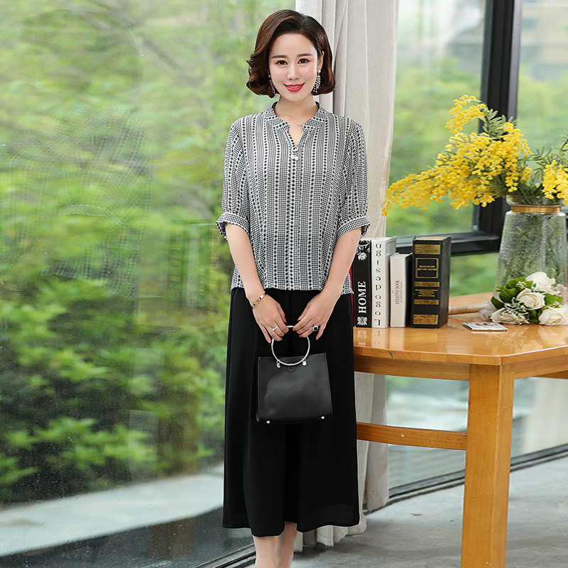 Middle-aged Mom Summer Wear Western Style T-shirt On Clothes Middle-aged Women's Chiffon Two-Piece Set Early Autumn Clothing Loo