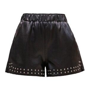 Image 5 - Pantalones cortos de piel sintética con remaches para mujer, pantalones cortos de pierna ancha, informales, con cintura elástica, para otoño e invierno, 2018