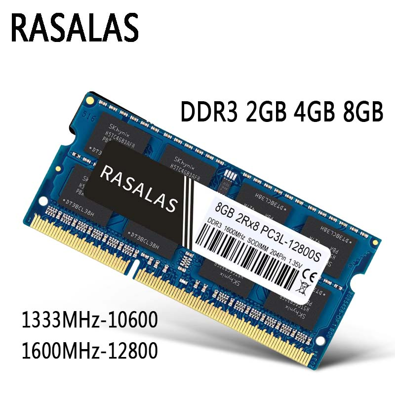 Rasalas оперативной памяти DDR3 8 ГБ 4 ГБ 8500 10600 12800 SO-DIMM 1,35 V 1,5 V Тетрадь 204Pin ноутбук Oперативная Nамять