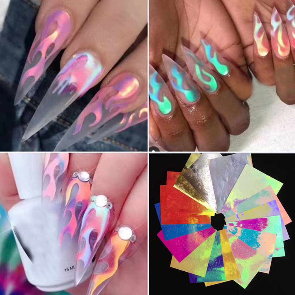 16 Styles Flame Reflections Tape Adhesive Nail Art Stickers Flame Shape Painting Nail Sticker Dropshipping Hot Selling