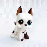 Raro pet shop lps brinquedos creme branco great dane cão #577 amarelo bule olhos original antigo figura animal crianças presente de natal