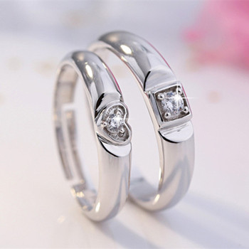 925 Sterling Silver Creative Couple Ring Opening Adjustable Zircon Silver Pair Ring wedding Anniversary Gift 1