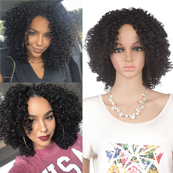 YunRong Short Afro Curly Wig Natural Hairline Heat Resistant Fiber Synthetic Hair Wigs For American African Kinky Curly Wig europe style heat resistant synthetic fashion black short kinky curly afro wig for women