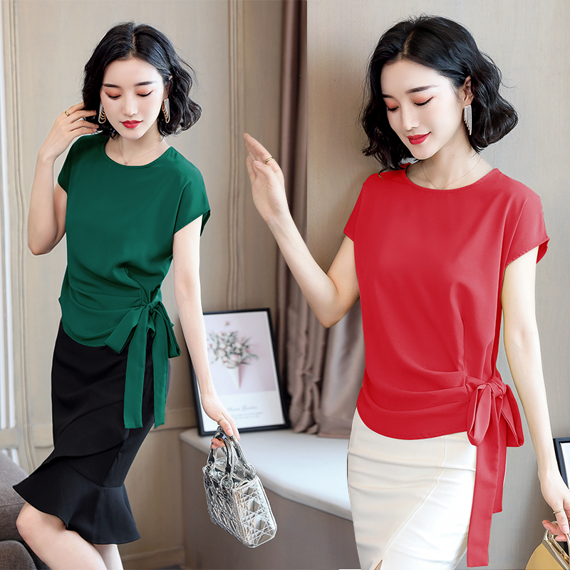 2021 Blusas Mujer De Moda Summer Silk Short-Sleeved Women's Blouse And Tops Office Lady Plus Size Solid Bow Shirts Women 9899 4