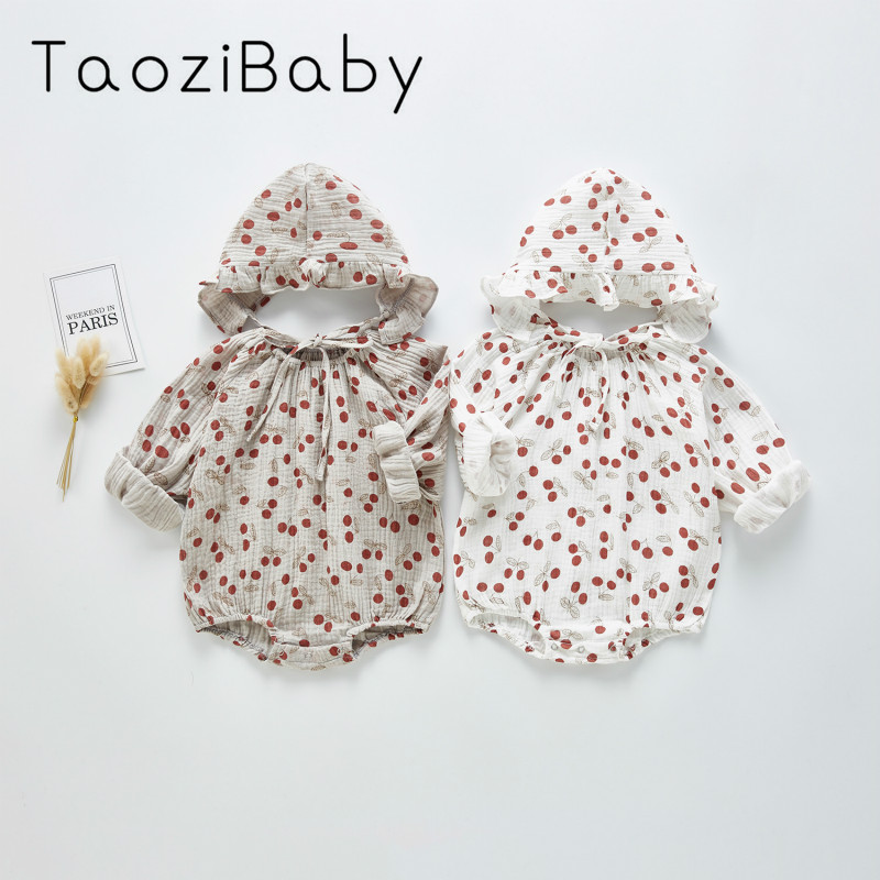 Spring Baby Bodysuit 2020 New Baby Bodysuit Girl Cherry With Hat Jumpsuit Climbing Suit Going Out Little Girls Clothing