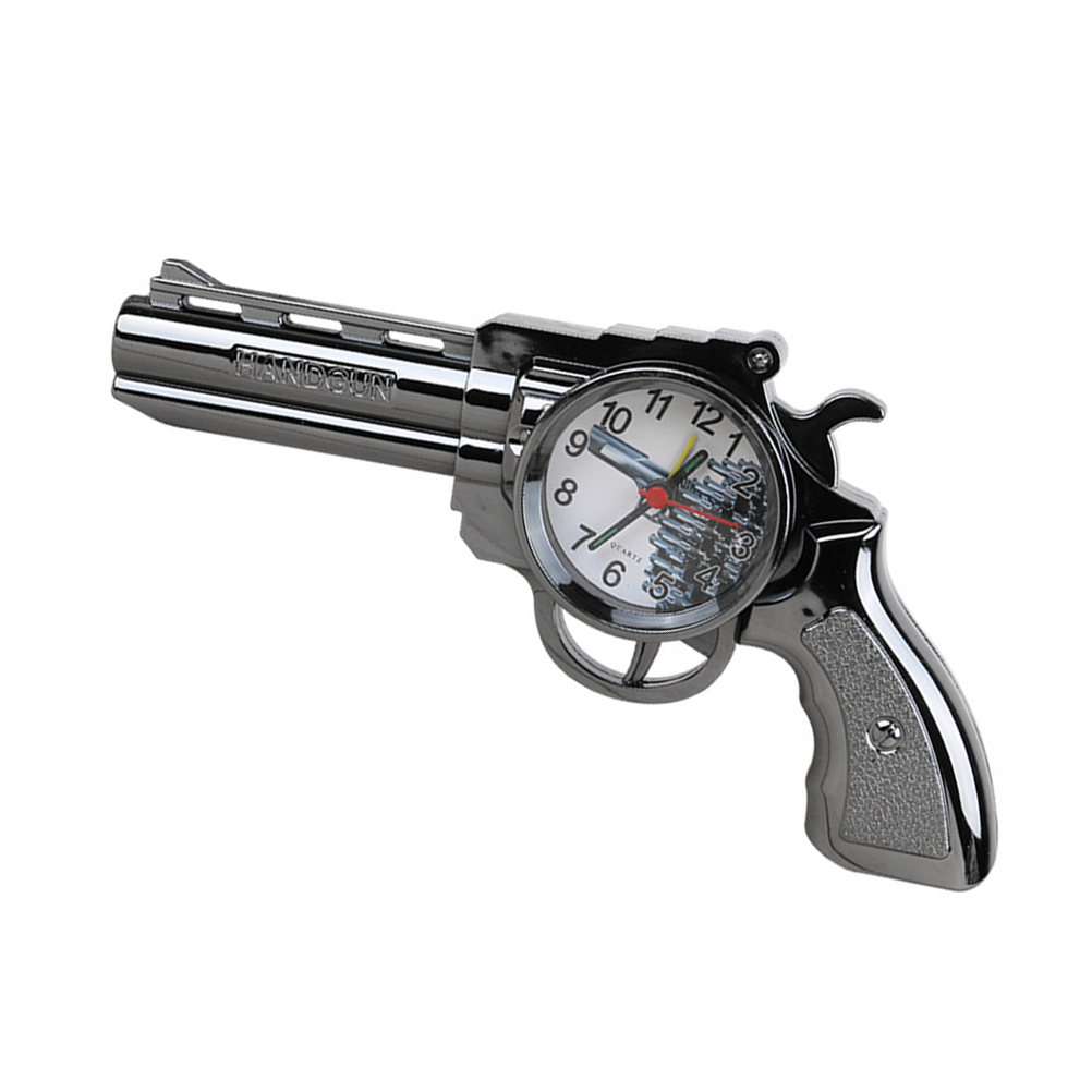 Revolver Shape Table Clock Fashion Alarm Clock Creative Clock Decoration Gift for Student Staff Workers without Battery