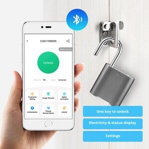 Image 4 - Smart Keyless Bluetooth Vingerafdruk Slot IP65 Waterdichte Cerradura Anti Diefstal Beveiliging Vingerafdruk Hangslot Deur Bagage Lock