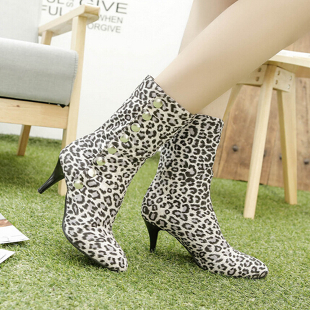 Sexy femmes bottes à talons hauts bouton bottines pour femmes mode léopard-imprimé court en peluche hiver chaussures femmes Botas Mujer