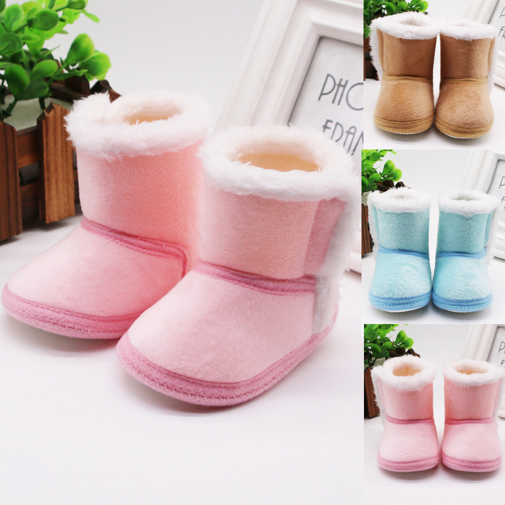 Christmas Elk Baby Kids Soft Sole Warm Snow Boots Soft Crib Shoes Toddler Boots
