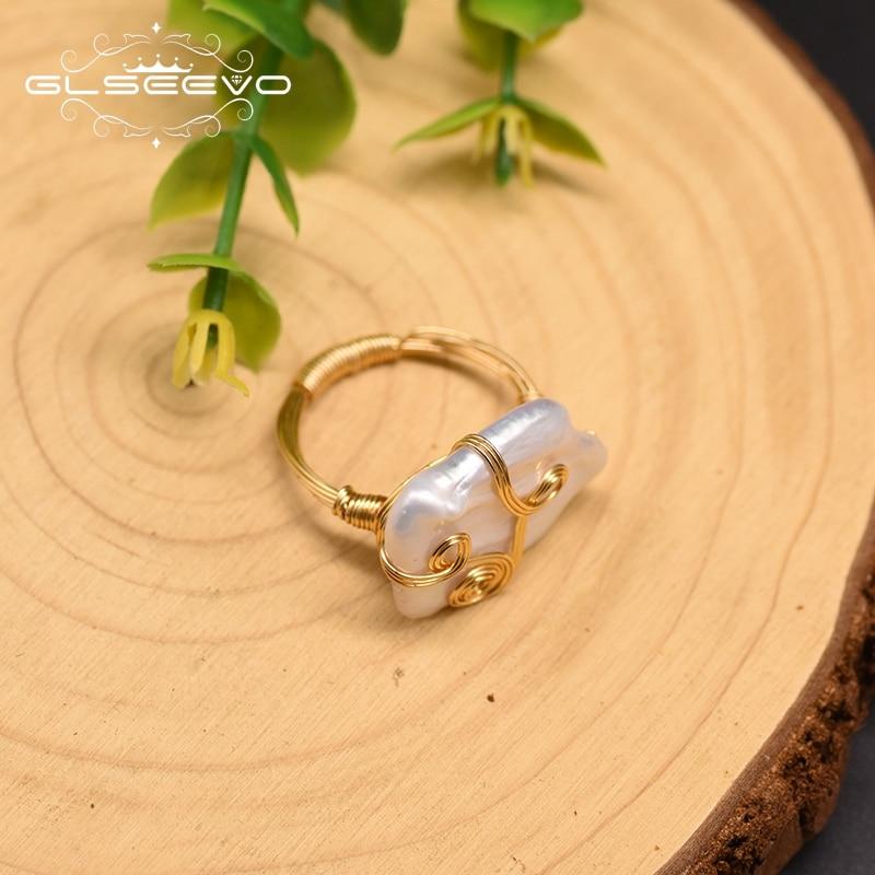Купить оригинальный дизайн кольца glseevo с натуральным белым квадратным