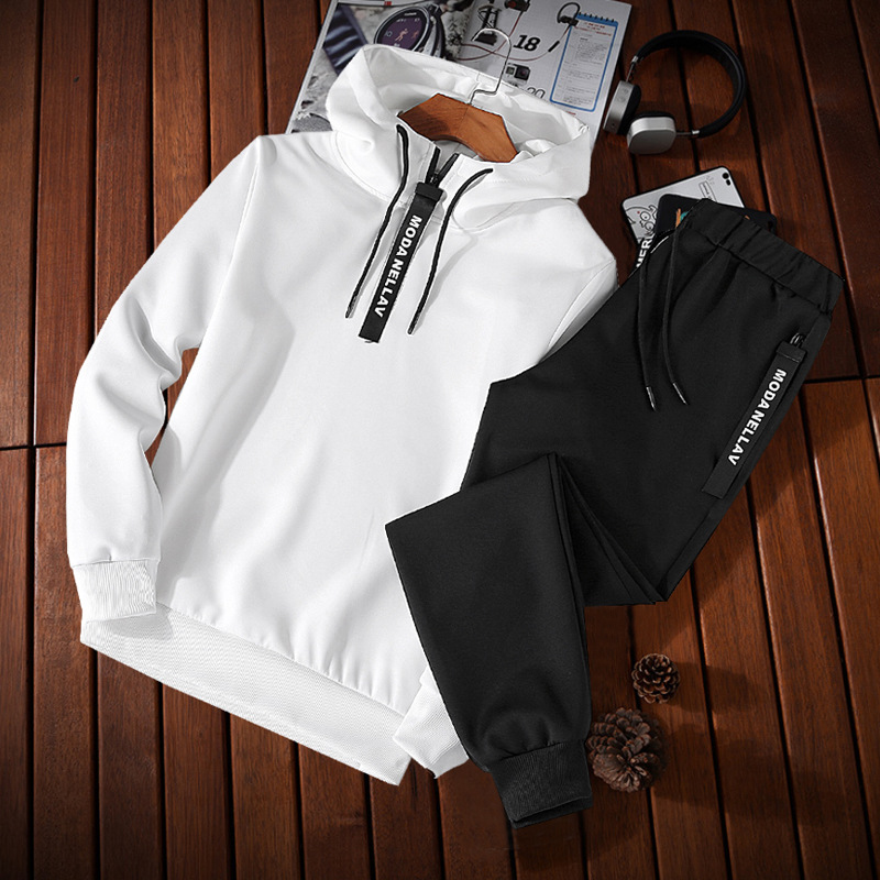 For Spring And Autumn Fashion Korean-style Solid Color Simple Casual Slim Fit Hooded Pullover Hoodie Suit Two-Piece