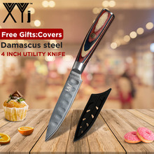 XYj VG10 Damascus Steel 4 Utility Knife Color Wood Handle 67 Layers Japanese Kitchen Ultra Sharp Cutter Tools