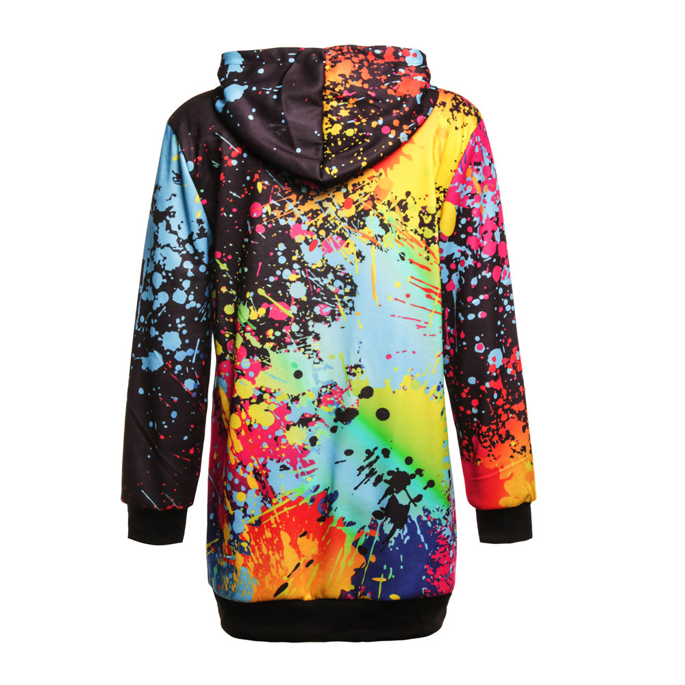 Fashion Womens Colorful Tie Dyeing Print Sweatshirt Hooded Overcoat Blouse Tops Crop Top Mujer Tallas Grandes Mujer