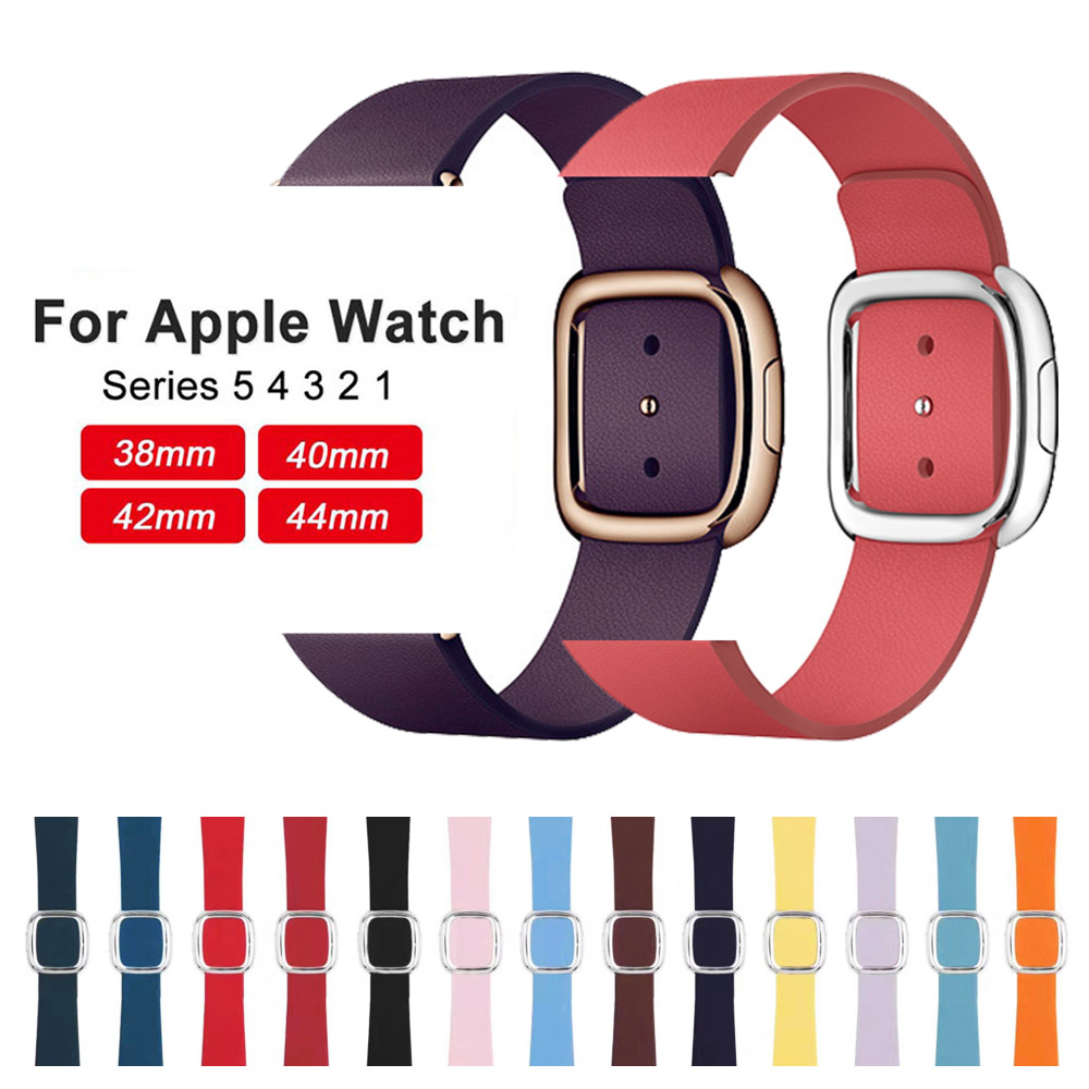 New Leather Loop Strap for Apple Watch Band 4 44/40mm Modern Style Bracelet Wrist Band for iWatch Series 3/2/1 42/38mm Accessori
