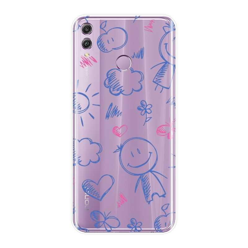 ハート笑顔電話ケース Huawei 社の名誉 8X 最大 10 9 8 シリコンソフトバック Huawei 社の名誉 7 8 9 10 Lite 7S 7X 7A 7C プロ