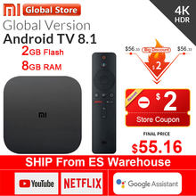 Oryginalny globalny Xiaomi Mi TV Box S 4K HDR Android TV 8.1 Ultra HD 2G 8G WIFI Google obsada Netflix IPTV dekoder 4 odtwarzacz multimedialny(China)