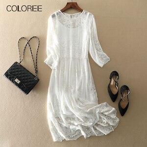 Подиумное дизайнерское элегантное белое кружевное Плиссированное длинное платье с цветочной вышивкой для женщин 2020 летнее Повседневное п...