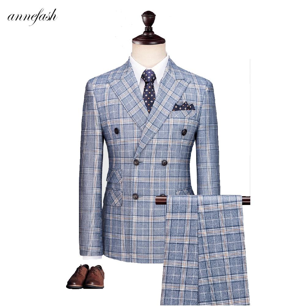Light Blue Overcheck Plaid Men Suit Custom Made Retro Men Wedding Blazer Suit 3pcs (jacket+pants+vest)