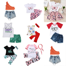 цена на Girls Clothing Sets 2019 Baby Girl Summer Outfits Kids Girl Clothes Vest Top T shirt+ Short Pant  Set Dropshipping