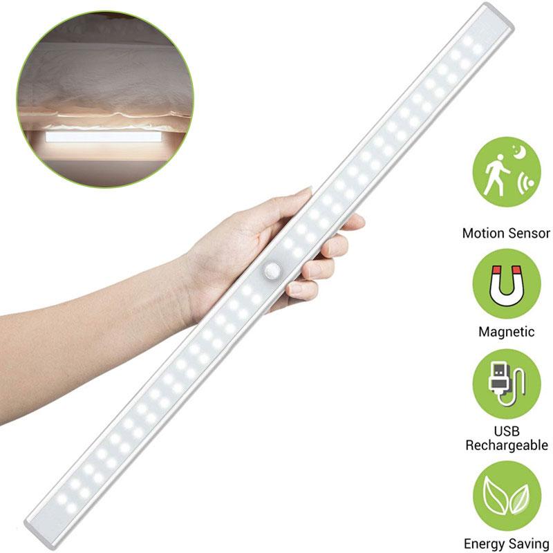 6/10/24/40/60 светодиодов инфракрасный датчик движения из PIR лампа USB Перезаряжаемые Магнитные Детские Спальня прикроватная лампа датчик светиль...