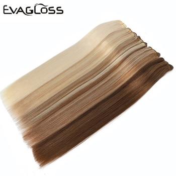 цена на EVAGLOSS Weft Hair Extensions 100g Real Remy Human Hair Weft Weavon Cuticle Aligned European Human Hair Extensions