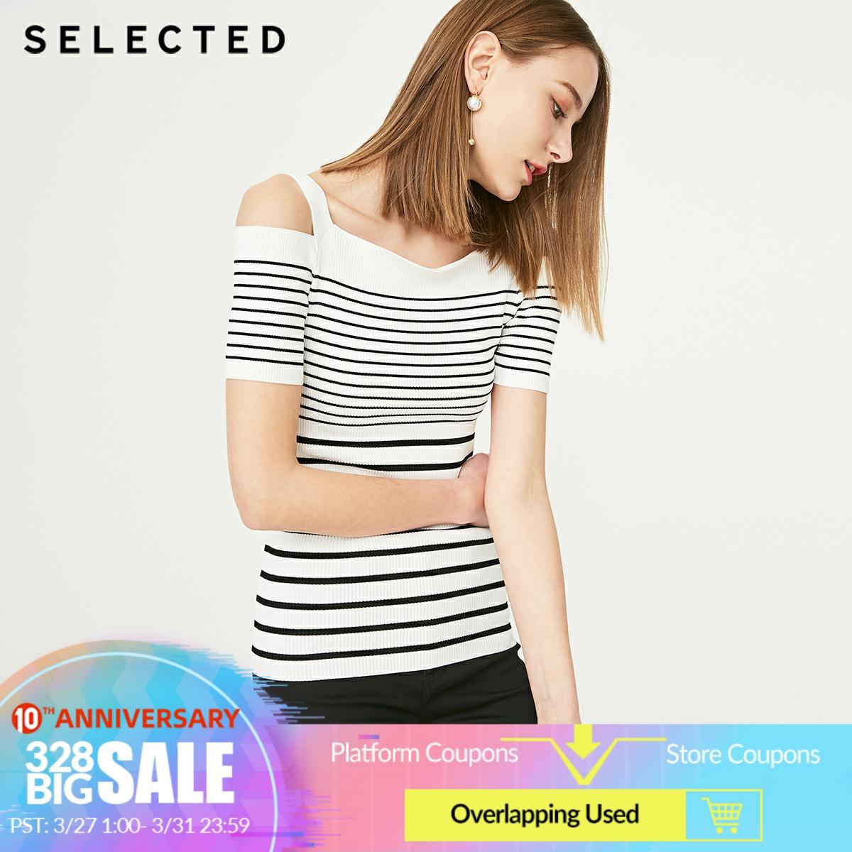SELECTED Women's Stripe Print Boat Neck Shoulder Strips Knit Tops S|419224506