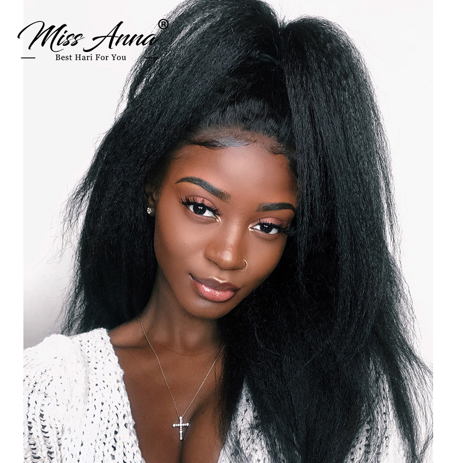 MissAnna 13x6 Lace Front Human High Hair Wigs Brazilian Remy Hair Kinky Straight Pre Plucked With Baby Hair