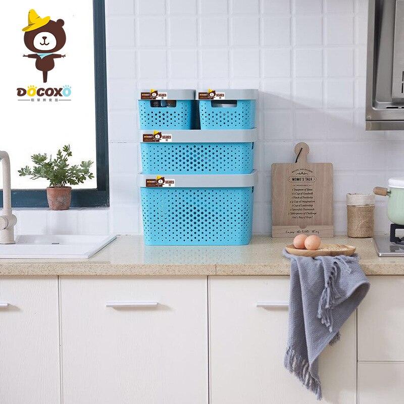 Paille ours panier de rangement boite de rangement quatre pièces ensemble grande taille epais boite de rangement plastique boite cuisine organisateur ménage Produ - 2