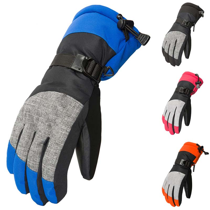 Winter Outdoor Sports Ski Gloves Plus Velvet Windproof Waterproof All Fingers Warm Gloves