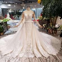 HTL132 ayrılabilir tren mermaid gelinlik ağır el yapımı kristal batı tarzı düğün törenlerinde 2020 yeni moda tasarımı