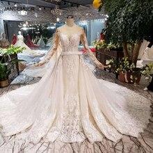 HTL132 vestidos de novia de sirena con tren desmontable, cristal occidental, hecho a mano, diseño moderno, 2020