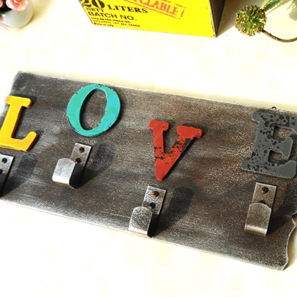 Us 12 14 18 Off Love Wall Hanging Keys Multipurpose Office Storage Decorative Living Room Home Vintage Decor Wooden Hook Clothes Crafts Bedroom On