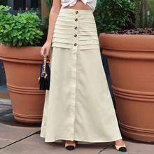 5XL Celmia femmes élégantes jupes longues 2021 mode haute taille élastique Maxi jupes plissée Sexy fendu décontracté bureau femme jupe 7