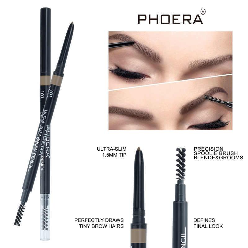 PHOERA dwugłowy ołówek do brwi wodoodporny długotrwały bez kwitnienia czarny brązowy Eye Brow Tatoo Pen makijaż naturalny odcień TSLM2