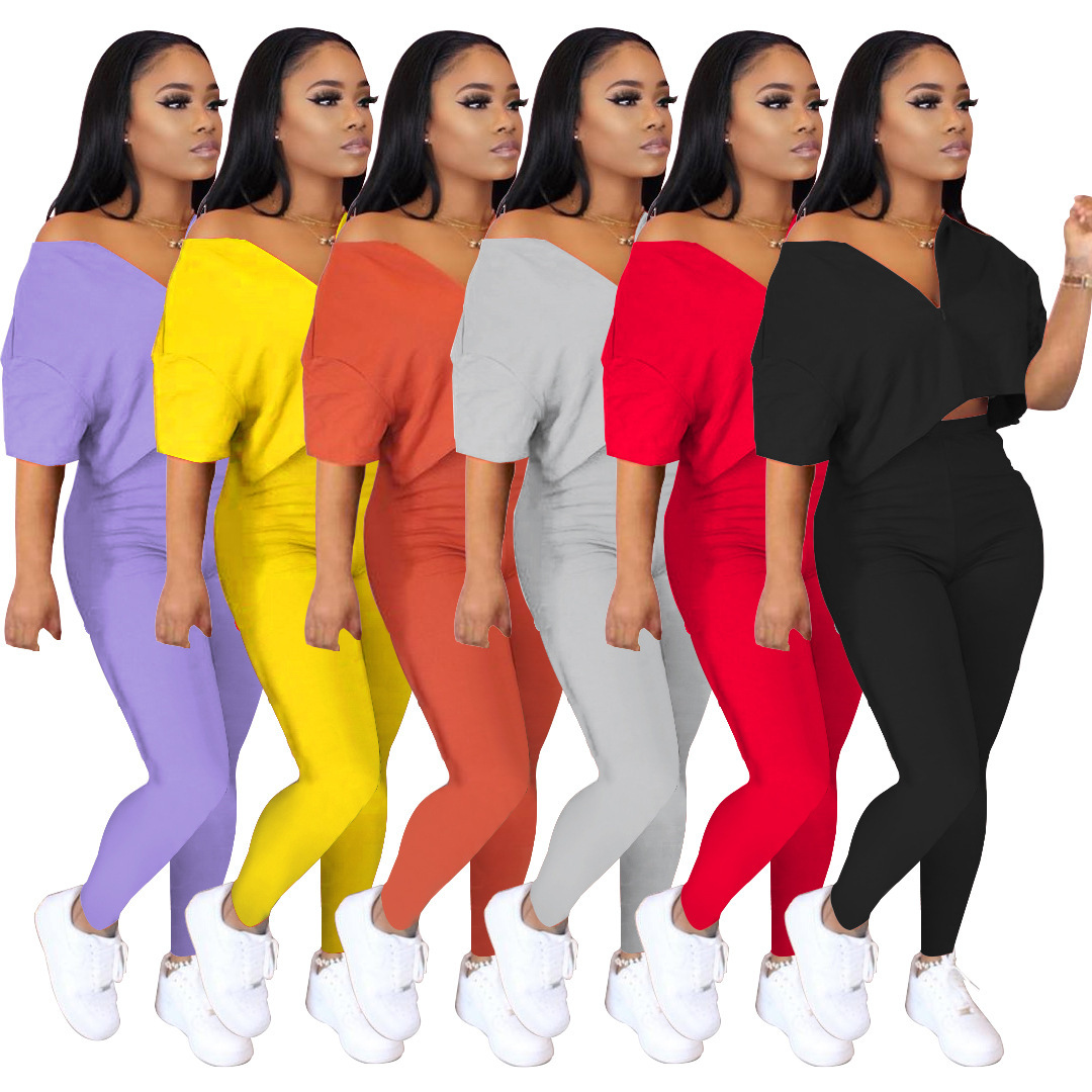 Casual V Neck Two Pieces Sets Women Sexy Top and Long Pants Summer Spring Soild Color Tracksuit Clothes Sexy Vacation Outfits