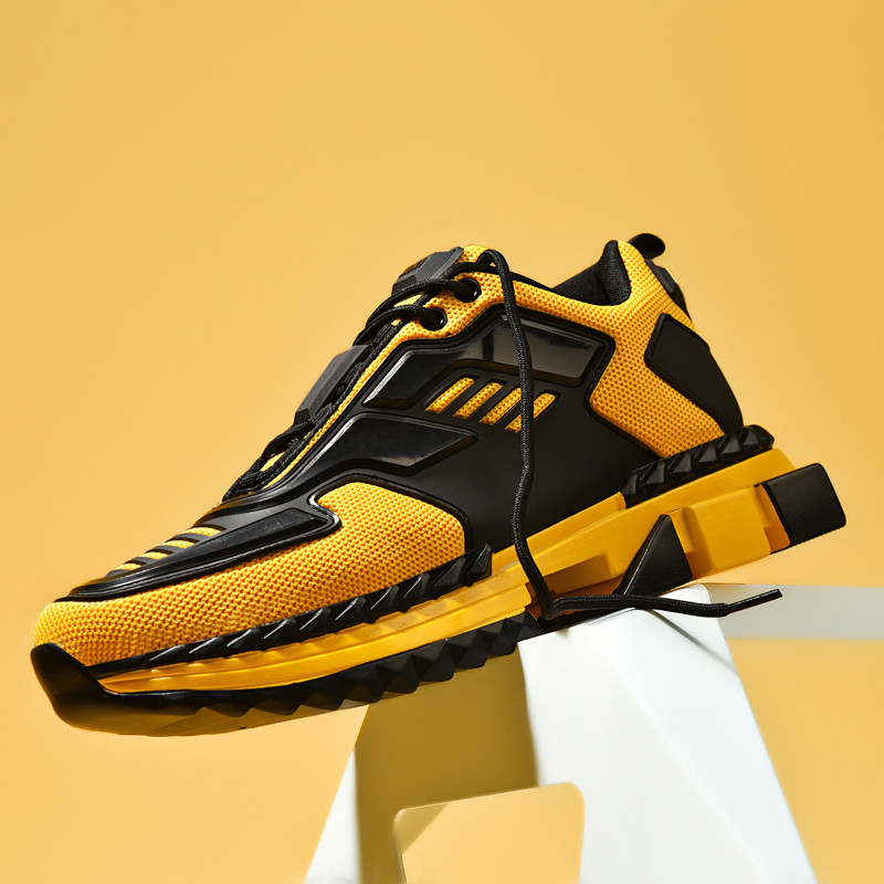 New Designer Four Seasons Running Shoes For Men Air Breathable Lightweight Sports Shoes Yellow Gym Jogging Sneakers Zapatillas