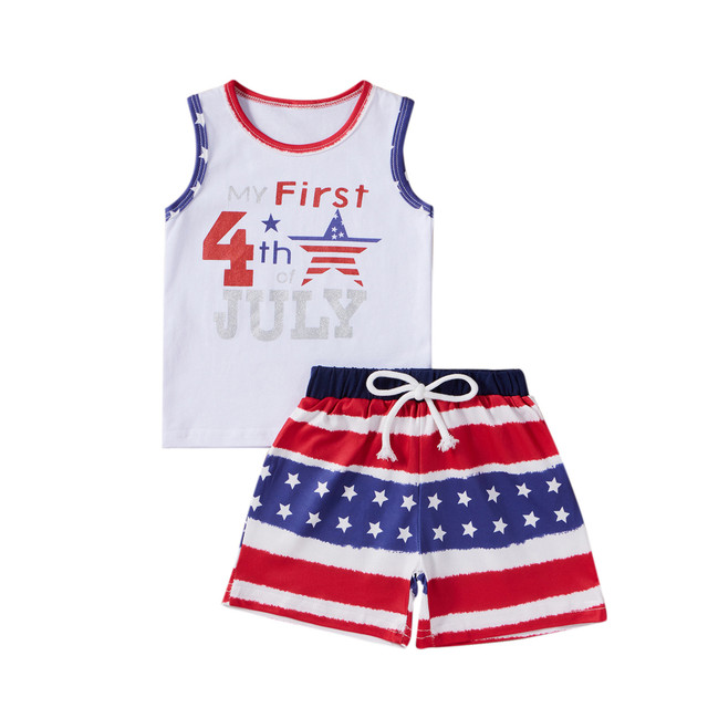 Baby Outfits Independence Day Sleeveless Letters Stars Infant Baby Boys 4th-of-july Stars Striped Printed Patriotic Tops Shorts 2