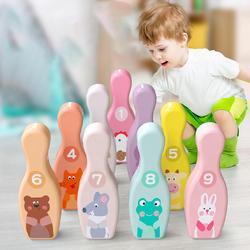 Bolas de boliche de madeira colorido pinos conjunto para crianças brinquedo 9 pinos de boliche 1 bolas conjunto divertido interior jogo da família crianças brinquedo educativo