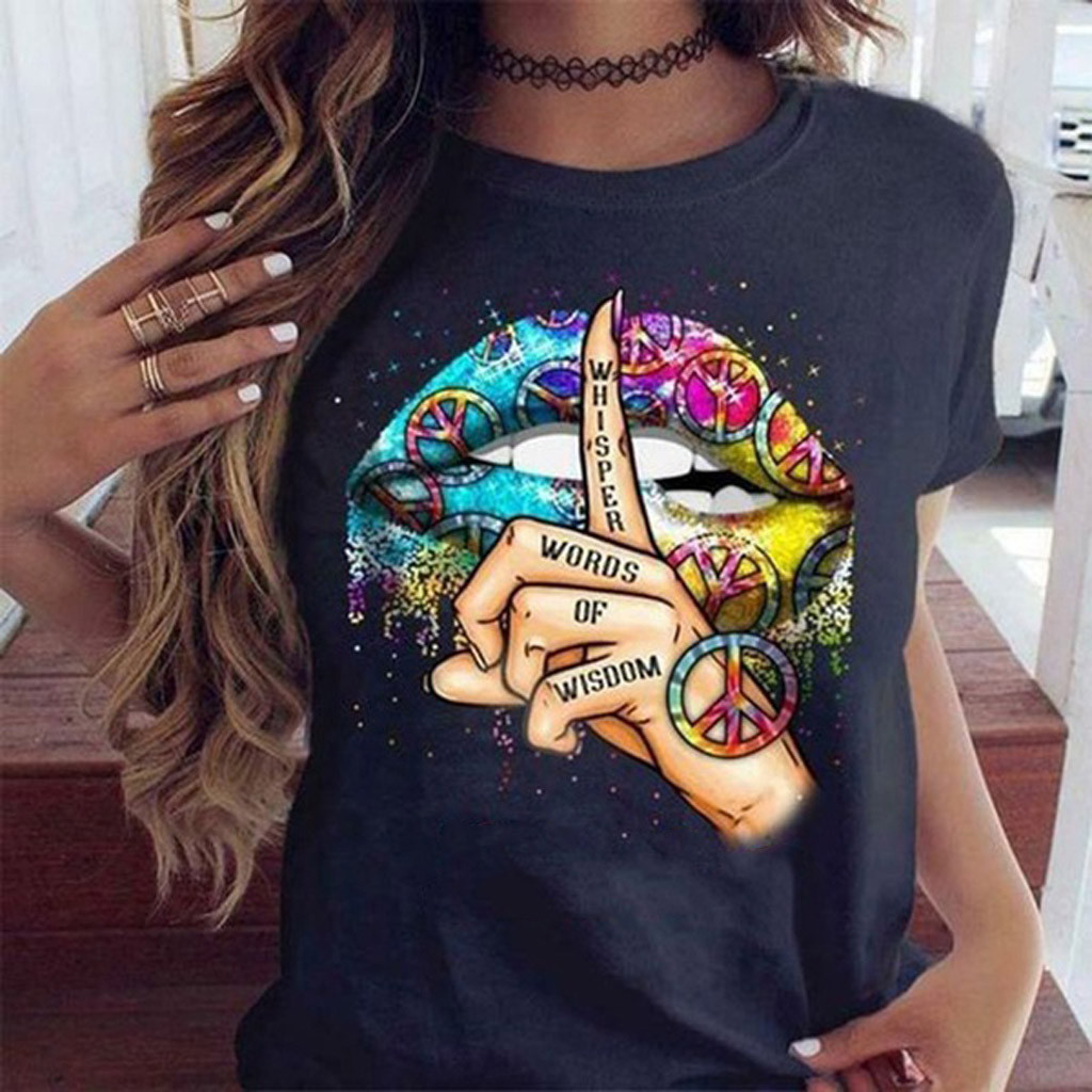 2020 Lips Watercolor Graphic T Shirt lip Women Tops Shirt Base O-neck Sexy Black Tees Kiss lip Funny whisper words Girls Tshirt