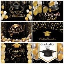 Parabéns graduação graduação crianças de volta à escola balão glitter fundo fotográfico vinil fotografia pano de fundo