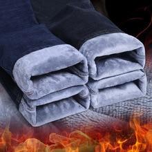 Pantalones vaqueros de invierno para hombre, ajustados, elásticos, gruesos, de terciopelo, cálidos, informales, de lana, de talla grande, 2020