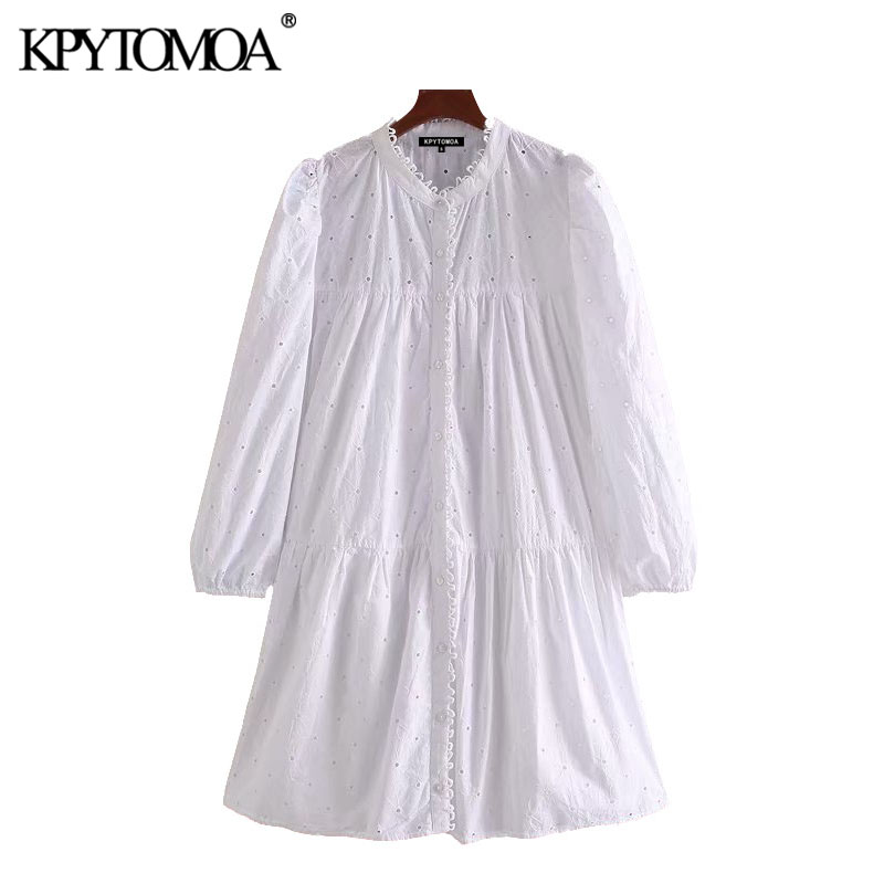 KPYTOMOA Women 2020 Sweet Fashion Embroidery Hollow Out Mini Dress Vintage O Neck Long Sleeve Female Dresses Vestidos Mujer