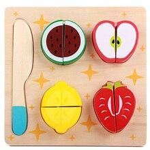 Деревянная игрушка на кухне, фрукты, овощи, десерт, Детская кухонная игрушка, еда, ролевые игры, головоломка, развивающие игрушки для детей